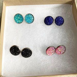 Set Of 4: 12mm Stainless Steel Earrings